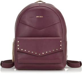 Jimmy Choo CASSIE Grape Nappa Leather Backpack with Round Stud Detailing