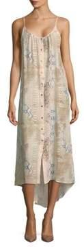 Melissa Odabash Animal-Print Hi-Lo Silk Dress