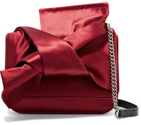 No. 21 - Knot Satin And Leather Shoulder Bag - Burgundy