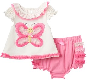 Nannette Baby Girl Embellished Butterfly Top & Ruffled Bloomers Set