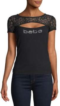 Bebe Lace Logo Short-Sleeve Top