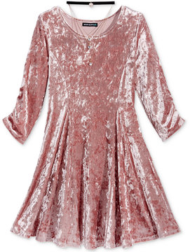 My Michelle Velvet Fit & Flare Dress & Necklace Set, Big Girls (7-16)