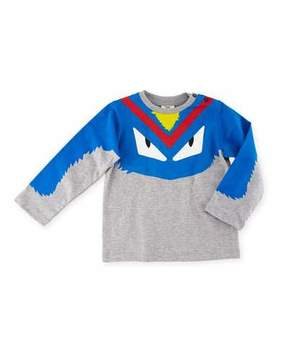 Fendi Boys' Long-Sleeve Monster Eyes Graphic T-Shirt, Size 12-24 Months