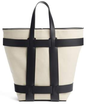 Paco Rabanne Cage Leather & Canvas North/South Tote