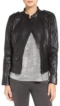 Bernardo Women's Slim Fit Leather Moto Jacket