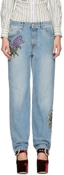 Alexander McQueen Blue Embroidered Floral Boyfriend Jeans