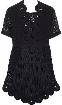 Alice McCall Everybody Knows Cutout Metallic Crocheted Mini Dress