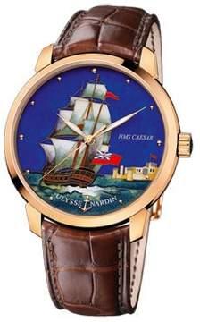 Ulysse Nardin Classico HMS Caesar Enamel Champleve Dial Alligator Leather Automatic Men's Watch