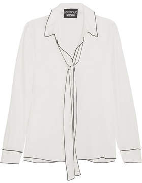 Moschino Pussy-bow Crepe De Chine Blouse - White