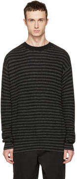 McQ Black and Grey Striped Wool Sweater