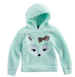 Miss Chievous Girls 7-16 Sequin Face Sherpa Hoodie