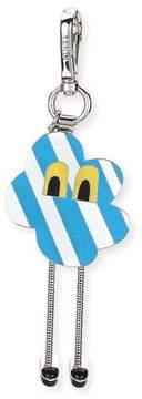 Fendi Cloud Eyes Striped Metal Charm for Men's Bag, Blue/White