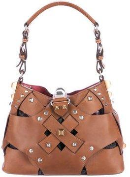 Prada Embellished Woven Leather Hobo