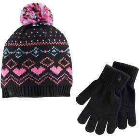 Cuddl Duds Girls Fairisle Pattern Knit Beanie Hat & Gloves Set