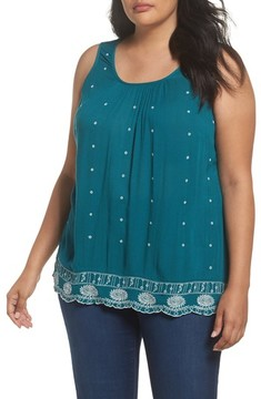 Evans Plus Size Women's Embroidered Border Shell Top