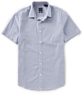 Armani Exchange Printed Satin Short-Sleeve Woven Shirt