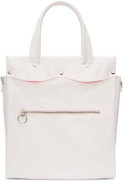 Comme des Garcons White Large Laminated Canvas Tote