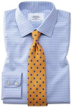 Charles Tyrwhitt Slim Fit Non-Iron Multi Check Blue Cotton Dress Shirt Single Cuff Size 15.5/34