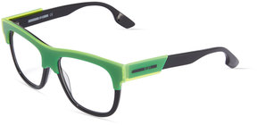 McQ Two-Tone Square Plastic Optical Glasses, Black/Yellow