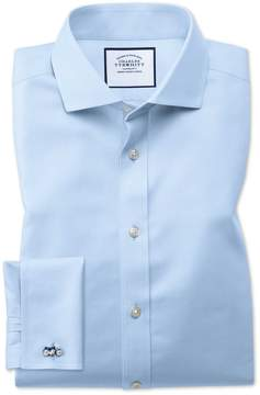 Charles Tyrwhitt Extra Slim Fit Spread Collar Non-Iron Twill Sky Blue Cotton Dress Shirt French Cuff Size 14.5/32