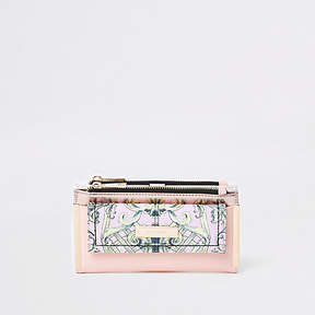 River Island Pink floral panel foldout purse