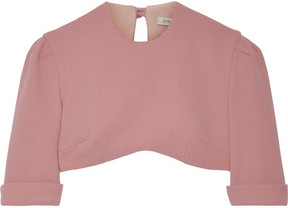 Emilia Wickstead Dian Cropped Wool-crepe Top - Antique rose