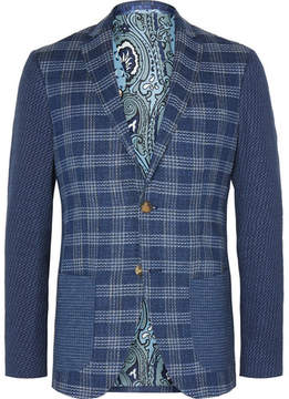Etro Blue Patchwork Checked Jacquard Blazer