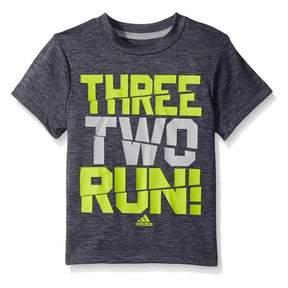 adidas Boys Gray Three Two Run! Climalite Athletic T-Shirt 4