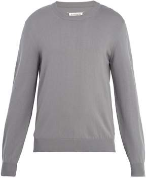 Maison Margiela Crew-neck suede-trimmed cotton sweater