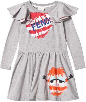 Fendi Grey Branded Frill Sleeve Dress