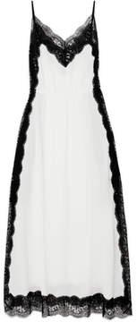 Christopher Kane Lace-trimmed Silk-chiffon Maxi Dress - White