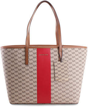 Michael Kors Natural & Bright Red Stripe Emry Tote - NATURAL - STYLE