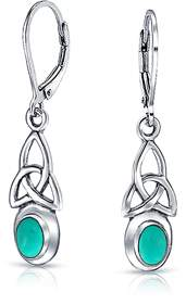 Celtic Bling Jewelry Synthetic Turquoise Knot Sterling Silver Dangle Earrings.