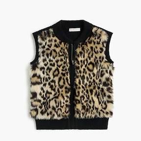 J.Crew Girls' leopard-fur sweater vest