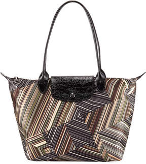 Longchamp Op Art Mixed-Print Shoulder Tote Bag