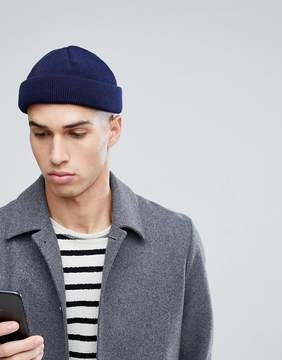 Asos Mini Fisherman Beanie In Navy