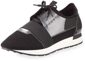 Balenciaga Men's Patent Race Runner Mesh & Leather Sneaker