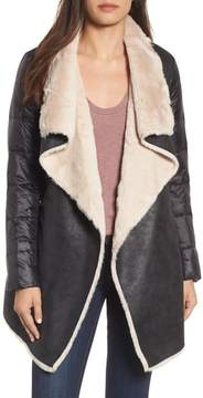 BCBGeneration Mixed Media Faux Shearling Puffer Jacket