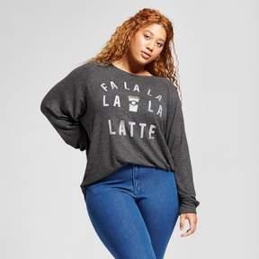 Fifth Sun Women's Plus Size Fa La La Latte Long Sleeve Graphic Sweatshirt Juniors') Charcoal
