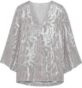 Elizabeth and James Ariel Metallic Fil Coupé Silk-blend Blouse - Silver