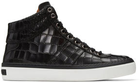 Jimmy Choo Black Croc-Embossed Belgravia High-Top Sneakers