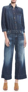 Emporio Armani 3/4-Sleeve Wide-Leg Denim Jumpsuit
