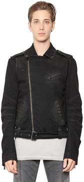 Pierre Balmain Stretch Cotton Denim Moto Jacket