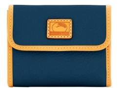 Dooney & Bourke Patterson Leather Small Flap Credit Card Wallet - MIDNIGHT BLUE - STYLE