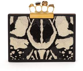 Alexander McQueen Knuckle Sequined Leather Clutch - Womens - White Black