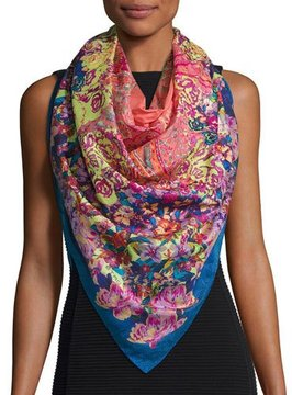 Etro Bombay Floral Watercolor Paisley Square Scarf, Blue