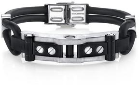 Ice Industrial Design Stainless Steel and Black Silicon Bracelet for Men