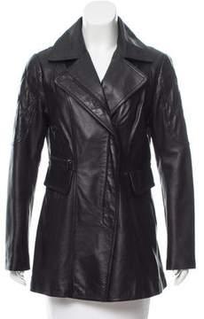 Laundry by Shelli Segal Leather Notch-Lapel Coat