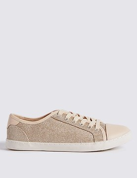 Marks and Spencer Lace-up Glitter Toe Cap Trainers
