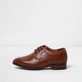 River Island Mini boys tan brown pointed brogue shoes